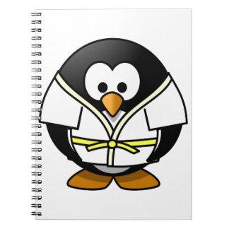 Cute little animated judo penguin spiral notebook