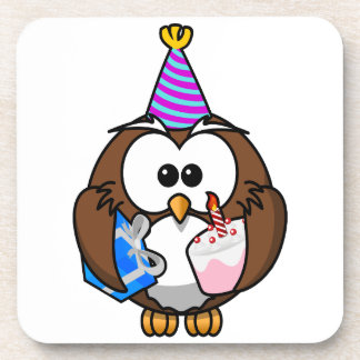 Cute little animated party owl coaster