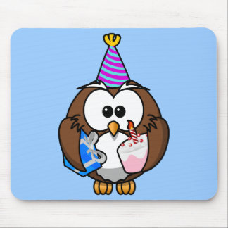 Cute little animated party owl mousepads