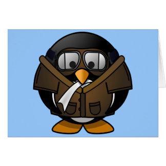 Cute little animated pilot penguin card