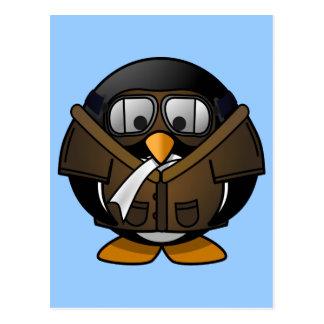 Cute little animated pilot penguin postcard