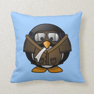 Cute little animated pilot penguin throw pillow