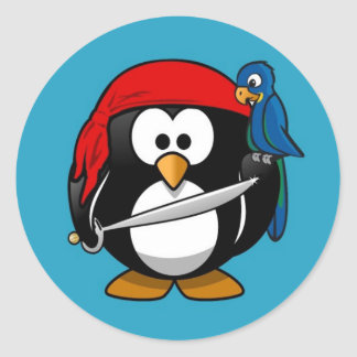 Cute little animated pirate penguin classic round sticker