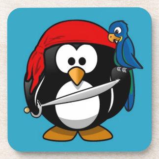 Cute little animated pirate penguin coaster