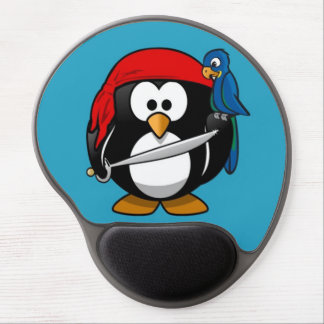 Cute little animated pirate penguin gel mouse pad