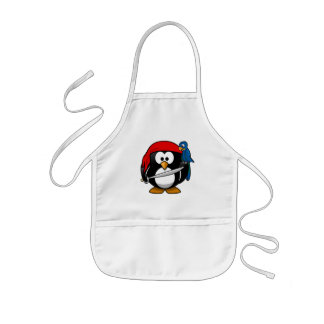 Cute little animated pirate penguin kids' apron