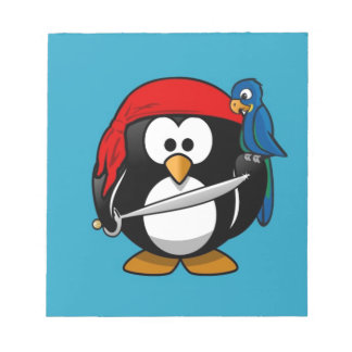 Cute little animated pirate penguin notepad