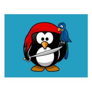 Cute little animated pirate penguin postcard