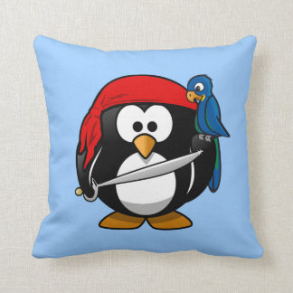 Cute little animated pirate penguin throw pillow