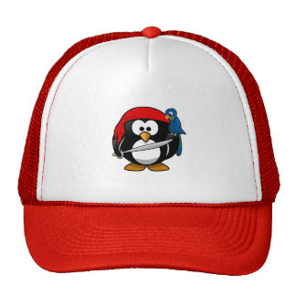 Cute little animated pirate penguin trucker hat