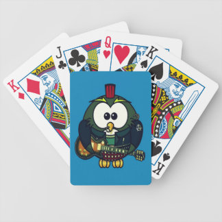 Cute little animated punk, rocker owl bicycle playing cards