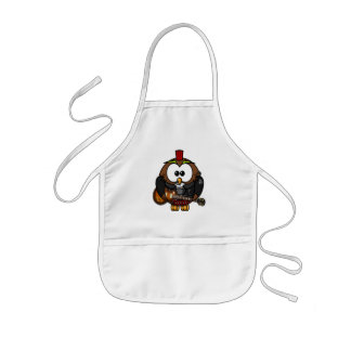 Cute little animated punk, rocker owl kids' apron
