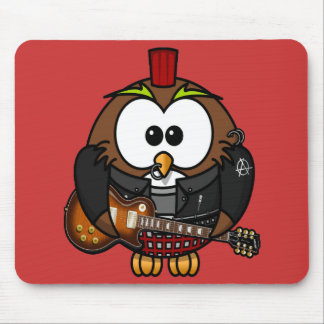 Cute little animated punk, rocker owl mouse pad