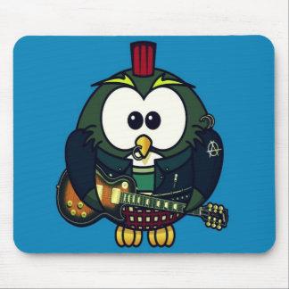 Cute little animated punk, rocker owl mouse pad