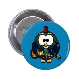Cute little animated punk, rocker owl pinback button