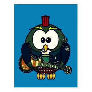 Cute little animated punk, rocker owl postcard