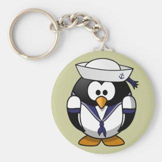 Cute little animated sailor penguin basic round button keychain