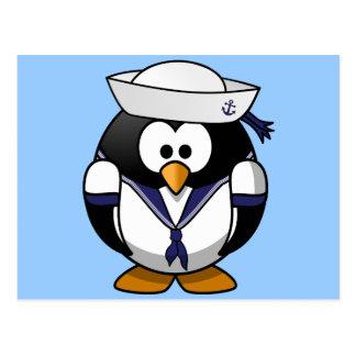 Cute little animated sailor penguin postcard