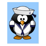 Cute little animated sailor penguin postcards