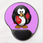 Cute little animated Valentine penguin Gel Mouse Pad