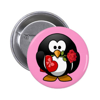 Cute little animated Valentine penguin Pinback Button