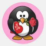 Cute little animated Valentine penguin Classic Round Sticker