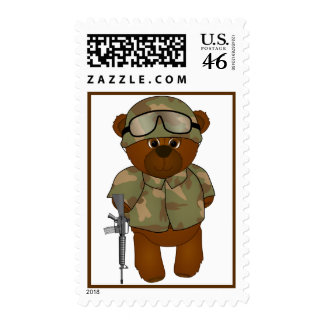 Cute Little Armed Forces Teddy Bear Mascot Postage
