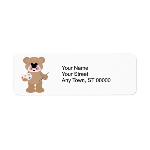 cute little artist bear with paint palette custom return address labels