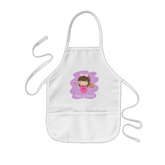 Cute Little Artist Painter Girl at Work Kids' Apron