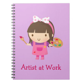 Cute Little Artist Painter Girl at Work Notebook