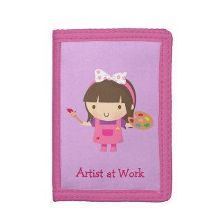 Cute Little Artist Painter Girl at Work Trifold Wallet