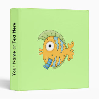 Cute Little aTropical Ocean Fish Cartoon Character 3 Ring Binder