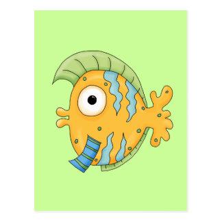 Cute Little aTropical Ocean Fish Cartoon Character Postcard