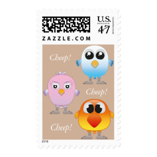 Cute little baby birds (lovebirds) postage stamp