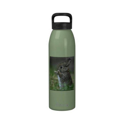 Cute little baby bunny. reusable water bottle