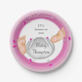 Cute Little Baby Butt Pink ETA Girl Baby Shower Paper Plate