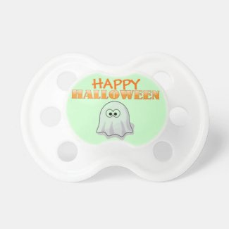 Cute Little Baby Ghost Cartoon Happy Halloween Pacifier