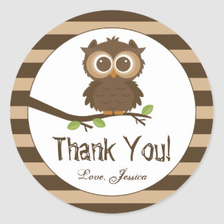 Cute Little Baby Owl | Baby Shower Thank You Favor Classic Round Sticker