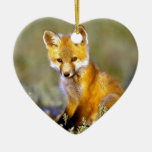 cute little baby red fox Double-Sided heart ceramic christmas ornament