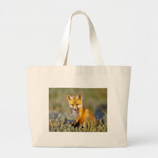 cute little baby red fox large tote bag