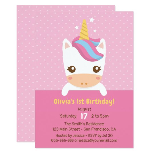 Cute Little Baby Unicorn First Birthday Party Invitation Zazzle Com