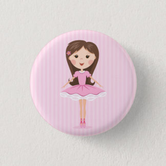 Cute little ballerina cartoon girl button