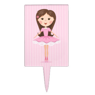 Cute little ballerina cartoon girl cake toppers