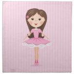 Cute little ballerina cartoon girl in pink tutu cloth napkins