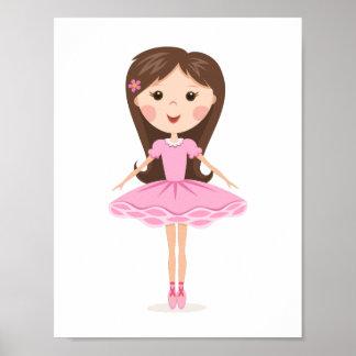Cute little ballerina cartoon girl in pink tutu poster