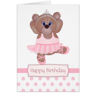 Cute Little Ballerina Cartoon Teddy Bear in Pink Card