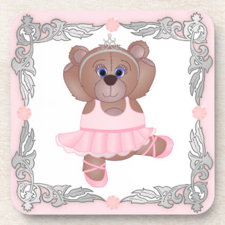 Cute Little Ballerina Cartoon Teddy Bear in Pink Coaster