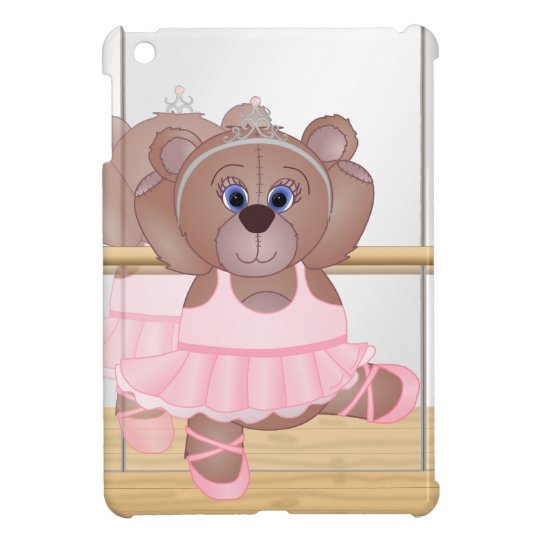 Cute Little Ballerina Cartoon Teddy Bear in Pink iPad Mini Cover