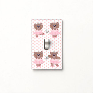 Cute Little Ballerina Cartoon Teddy Bear in Pink Light Switch Cover