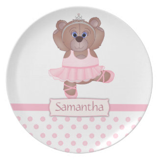 Cute Little Ballerina Cartoon Teddy Bear in Pink Melamine Plate